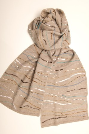 new piece, softest cashmere adorned with an aqua and bronze sequin wave pattern