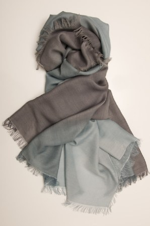 exquisitely soft stole, hand dyed dipped colour blend from one contrasting colour to another.  Stone, navy, orange, fuschia lemon or bespoke to order. also available as a cashmere mix.